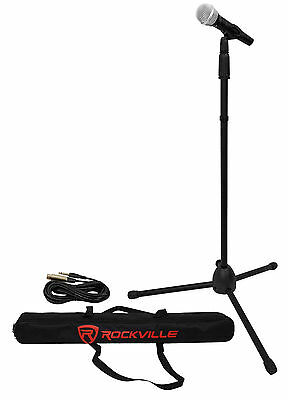 Rockville Pro Mic Kit 1 Karaoke Vocal Microphone + Mic Stand + Carry Bag + Cable