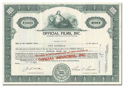 Official Films, Inc. Stock Certificate