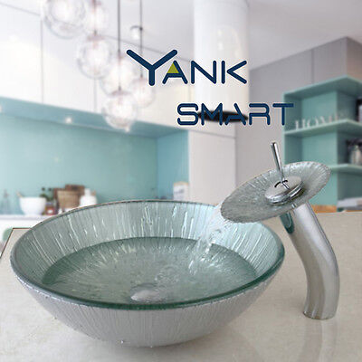 UK Bathroom glass Basin Sink brass faucet  Washing Bowl with Tap