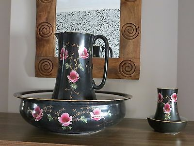 Large Jug And Bowl Set In Black And Pink