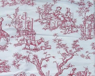 Vintage French Fabric Toile de Jouy Cotton Romantic pastoral Countryside scenes