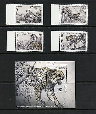 Uzbekistan 1997  #141-5 fauna cats panther  set & sheet MNH  I916