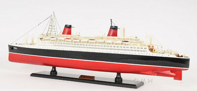"SS France Ocean Liner Wooden Model 32"" French Cruise Ship New"