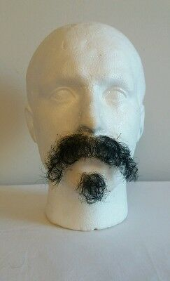Quality Black Fine Lace Yak/Human Hair Moustache Beard Goatee Film Theatre TV