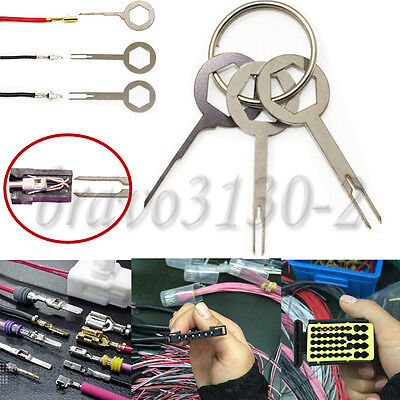 3PC Car Terminal Removal Tool Kit Wiring Connector Extractor Puller Release Pin