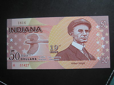 US STATES SERIES POLYMER $50 - 19th STATE -  INDIANA 1816 - BRAND NEW
