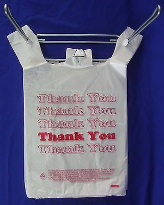 """11.5"""" x 6"""" x 21"""" THANK YOU T-Shirt Bags Plastic Retail Shopping Bags Only"""