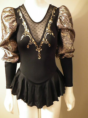 Beautiful Competitive Black Gold Skating Dress Made By Jerrys Womens Small