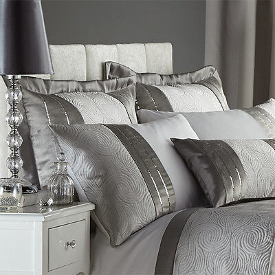 Catherine Lansfield Gatsby Sequin Embroidered Pillow Shams, Silver, Pair