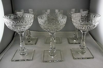 6 Hawkes Manor (Cut) Champagne Tall Sherbet Glasses  #7240 Square Base - Signed