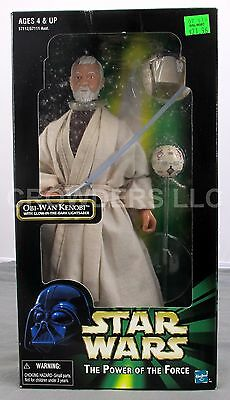 "Star Wars PotF 12"" Obi-Wan Kenobi w/ Glow-in-the-Dark Lightsaber Kenner '98 NIB"