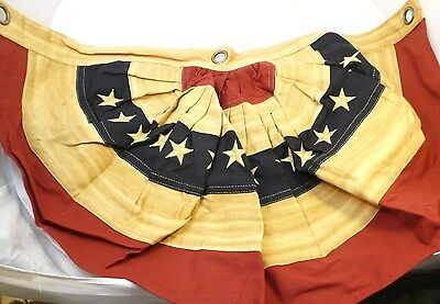 "Tea Stained American Flag Bunting~Heavy Cotton~Small 29""x17""~3 grommets~13 Stars"