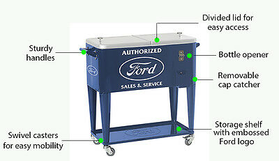 New Ford Logo Rolling Cooler With Bottle Opener And Casters Frd-40060