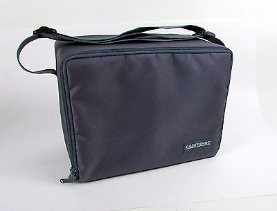 """Gray Purple Nylon """" CASE LOGIC """" Storage Carrying Case - Up to 30 Music CD's"""