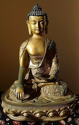 """Large 12"""" Antique Temple Chinese Buddha Bronze Gilt Carve Patina Religion Statue"""