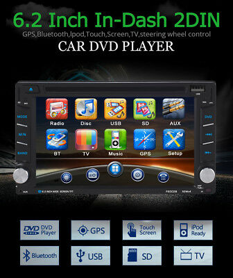 "6.2"" 2 Din Estéreo Coche USB Navegador GPS DVD Player Bluetooth iPod MP3+Cámara"