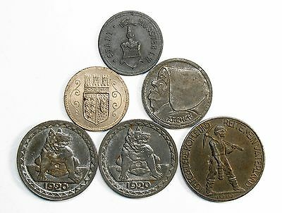Lot of 6 1917, 1919, 1920 German Notgeld Coins Circulated w/Blemishes #74577 X