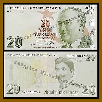 Turkey 20 Lira, 2009 P-224 Unc