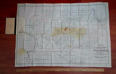RARE Map - Allegany County NY - Oil Field by Seymour 1870s Bradford PA annotated