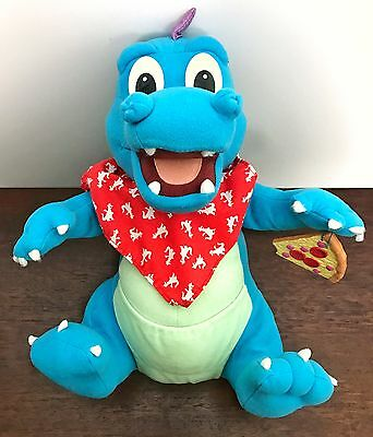 """1999 Hasbro Playskool Dragon Tales Hungry Hiccuping Ord Plush 11"""" Pizza Blue"""