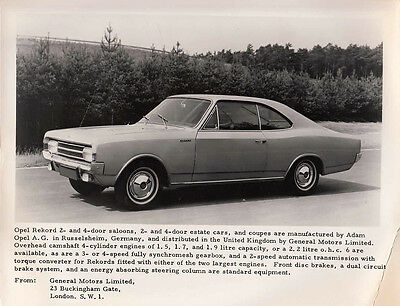 Opel Rekord 2-Door Coupe Period Photograph.