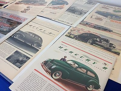 VINTAGE- Original Mercury Car Ads - Magazine Auto Sales Advertisement -Lot of 11