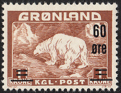 Greenland 1956 Polar Bear Overprint 60ø on 1 kroner MH