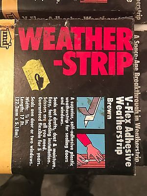 (5) MD Weather Strip  V-Flex Adhesive BROWN 17 Ft 7/8""