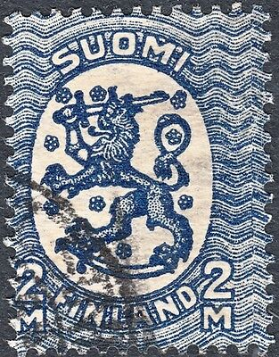 Finland 1911 2m Blue Misperf - Affecting Design on Right Used
