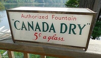 1920's CANADA DRY 5 cents LIGHTED SODA FOUNTAIN SIGN OR PHARMACY DISPLAY SIGN