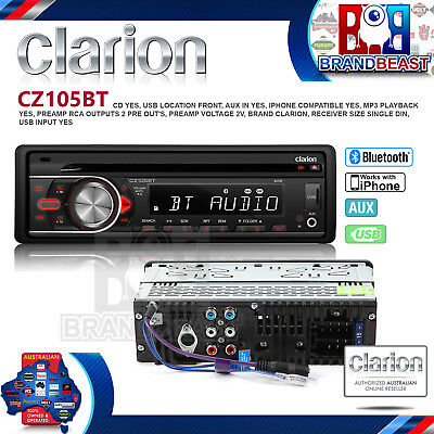 New Clarion Cz105bt Car Stereo Audio Head Unit Bluetooth Cd Usb Mp3 Ipod Aux In