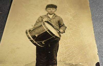 Rare Civil War Drummer Band Drum Instrument Child Militia Young Boy Playing