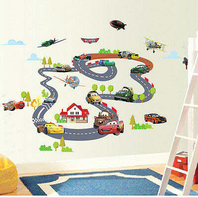 Cartoon Cars Circle Race Track Vinyl Art Wall Sticker Kids Room Decal Removable