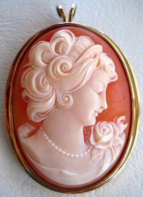 Victorian Conch Shell Cameo Brooch Pendant 10k Gold Bezel Lady Rose Convertible