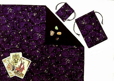"Purple Stars Lined Tarot Cloth & Bag 3-piece 18""x20"" Divination Gift Set"