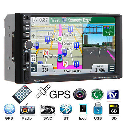 """7"""" GPS Car Double DIN MP5 MP3 Player Radio Stereo Touch Bluetooth USB/TV +Camera"""