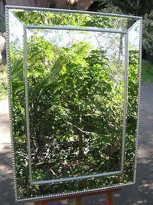Art Deco Style Antique Look Wall Mirror Bevel Glass & Timber Frame 1090mm x790mm