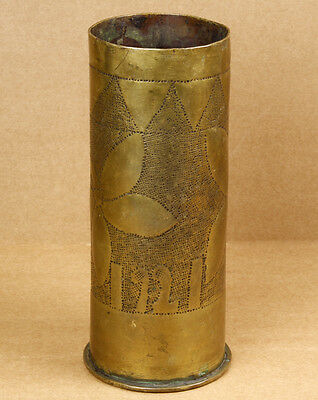 Greece WWI 1915 Military Trench Art Brass Shell Vase 1921 Engraved Flowers