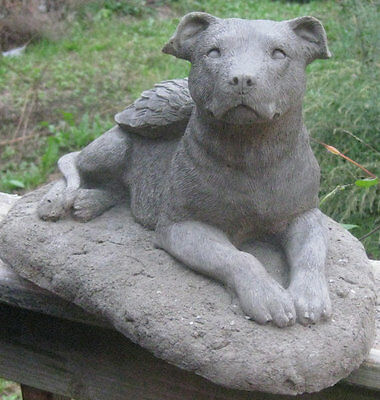 Concrete Pit Bull Angel Dog Statue (Uncropped Ears)
