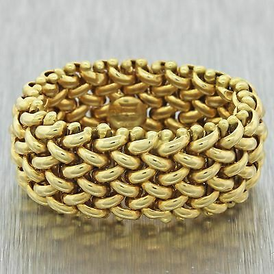 Vintage Estate 14k Solid Yellow Gold Mesh Woven 11mm Wide Band Ring