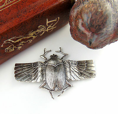 SILVER Large Scarab BEETLE Wings Stampings ~ Antique Silver Finding (C-406) `