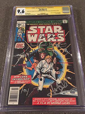 STAR WARS #1 1977 CGC SS 9.6 SIGNED 4x Carrie FISHER RIP, Hamill & Darth VADER