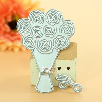 Rose Bouquet Cutting Dies Stencils DIY Scrapbooking Album Paper Card Crafts Gift