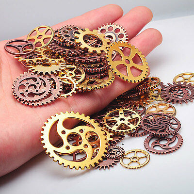 Vintage Metal Mixed Gears Charms Jewelry Making DIY Steampunk Pendant 100g/bag