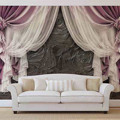WALL MURAL PHOTO WALLPAPER XXL Pink Curtains (3565WS)