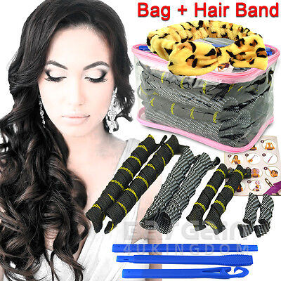 New DIY Magic Circle Hair Curler Styling Roller Perm Spiral Tool +Free Hair Band