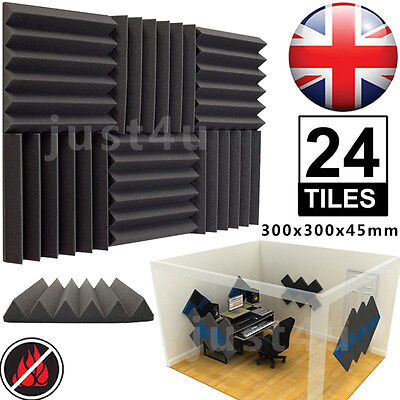 24pcs Acoustic Studio Wedge Foam Tiles Wall Panels Room Treatment 300x300x45mm