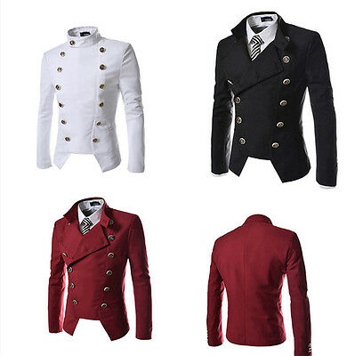 Men's Fashion Double Breasted Short Blazer Jackets Buttons Slim Fit Casual Coats