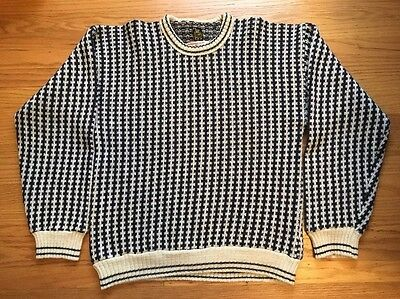 Vtg Sweater NORWAY Krone rayon-Wool Navy Cream Mens Size 52 (large)