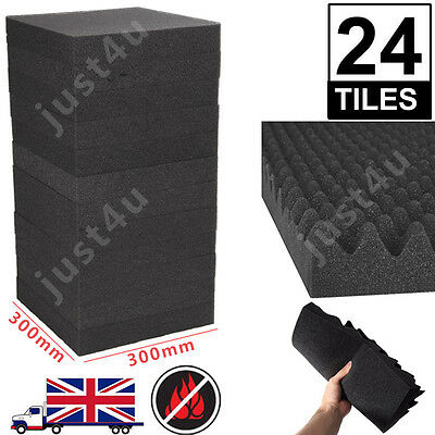 24 Pcs Acoustic Foam Egg Panels Tiles Studio Sound Proofing Treatment Absorption